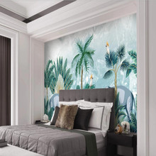 Factory direct Nordic hand-painted tropical forest plant elephant marble living room, bedroom, sofa, TV background wall