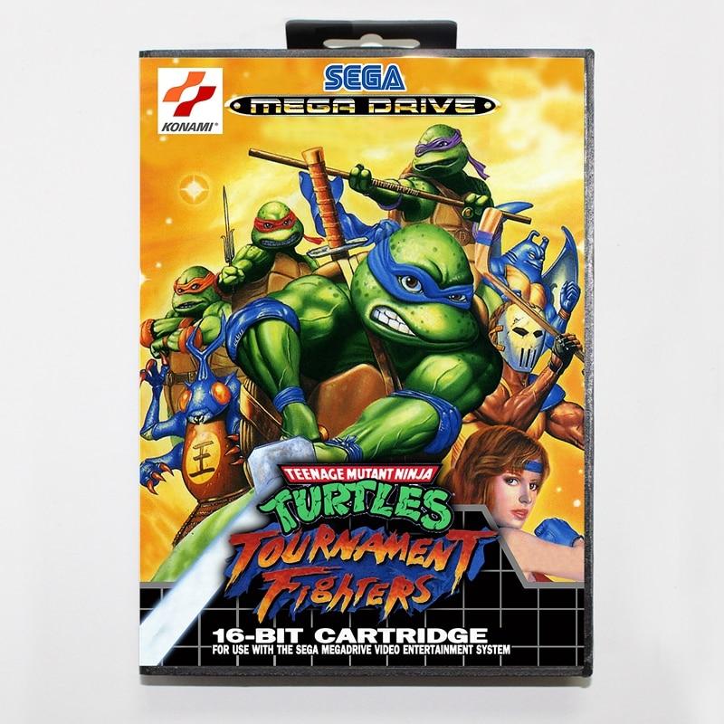 Sega MD games card – Teenage Mutant Ninja Turtles: Tournament Figh with box for Sega MegaDrive Video Game Console 16 bit MD card