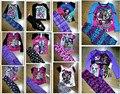 2017 Novos Conjuntos de Pijama Monstro Alta Crianças Pijamas Meninas Pijamas Conjunto de Roupas Meninas Set Shirt + Calças 2 Pcs terno escola