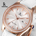 Ik for quartz watch rhinestone fashion ladies watch genuine leather ladies watch strap watch waterproof
