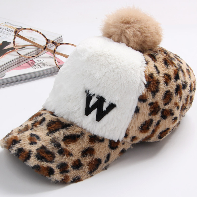 Autumn and winter female plush cap rabbit fur big ball cap street color  block decoration leopard print baseball cap warm hat d7f95202b9be