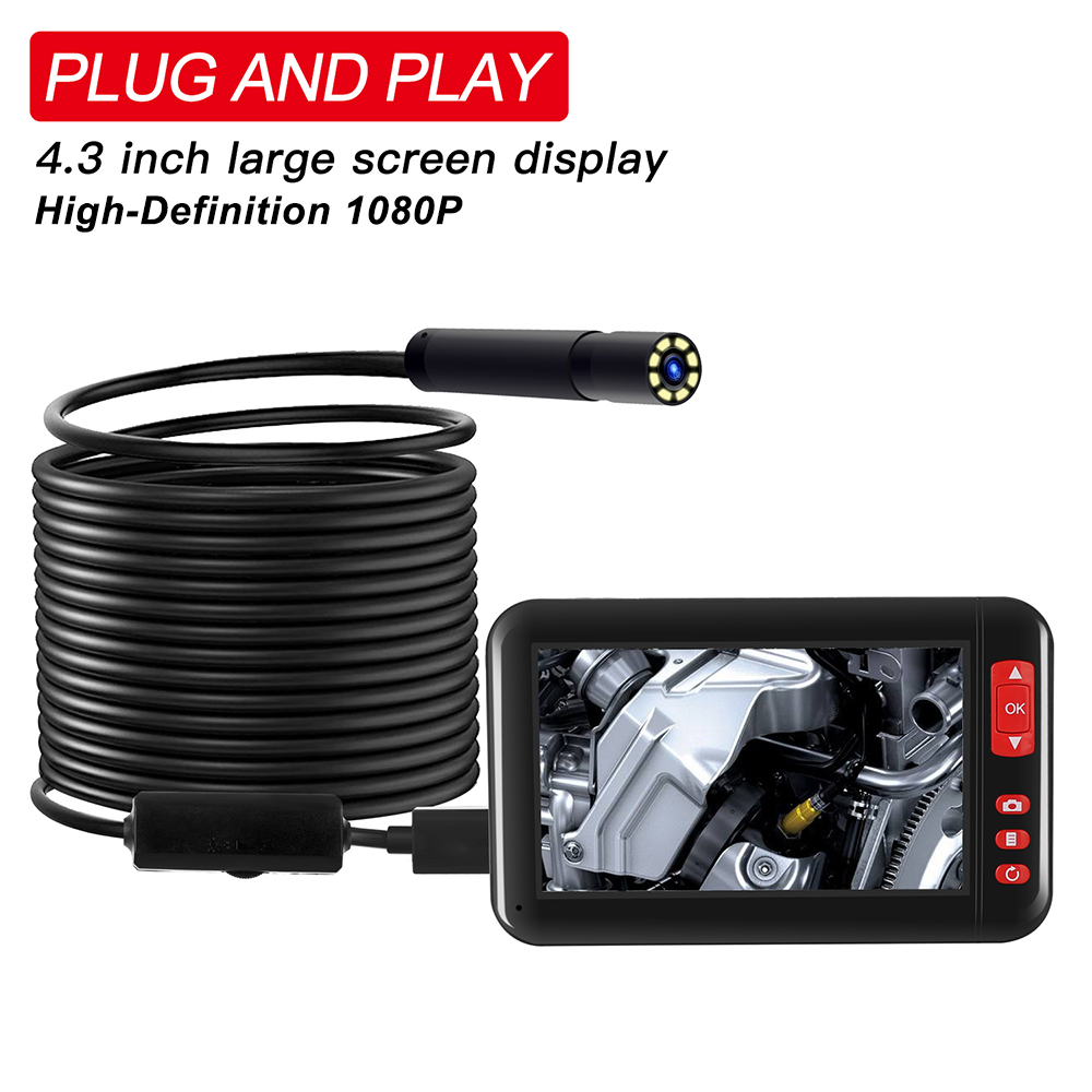 F200 HD1080P 8MM Lens Screen Inspection Endoscope Camera Waterproof Borescope 4.3 Inch HD TFT IPS Screen Camera Car Monitor