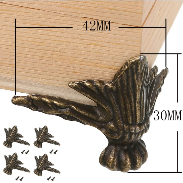 4pcs Antique Furniture Leg Corner Protector Brass For Jewelry Wood Box Feet  Legs Home Use - 4pcs Antique Furniture Leg Corner Protector Brass For Jewelry Wood