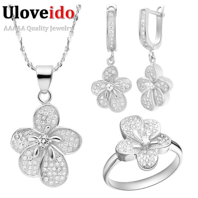 Wedding Jewelry Sets Women Long Necklace Cubic Zirconia Brincos Bijuterias Silver Plated Earrings Flower Rings Uloveido T105