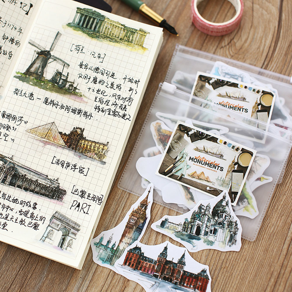 42 Pieces/lot World Scenic Spot Architecture Stickers For Genuine Leather Notebook Decoration School Stationary Supplies