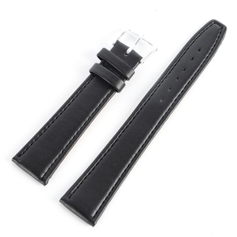 Women Men Durable Soft Pin Buckle Watch Strap PU Leather Watchband Black Coffee 12 14 16 18 20 mm