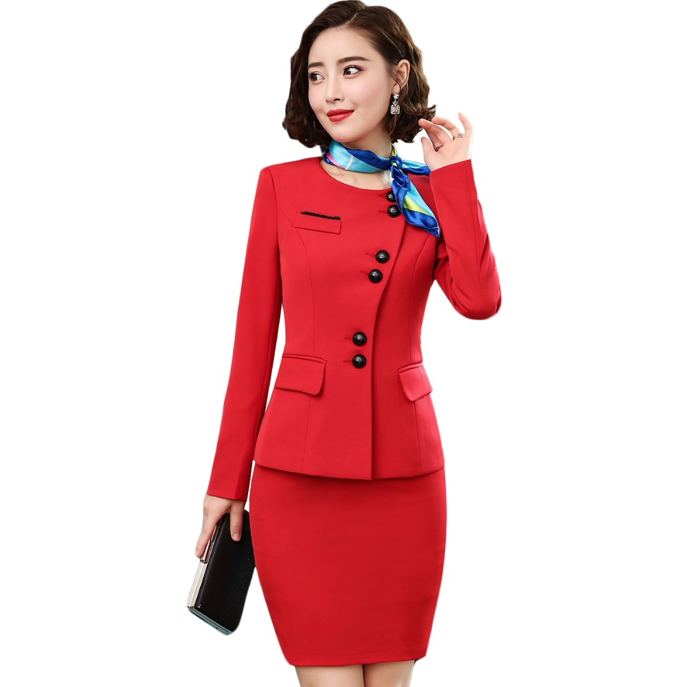 red women plus size skirt suits 2 PIECE SETS 2018 new winter women business suits 5XL