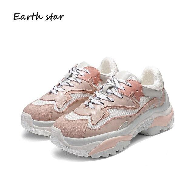 EARTH STAR nuevo Casual blanco zapatos mujer marca plataforma zapatillas  señora chaussure Cruz-atado otoño 0b1c83522e07