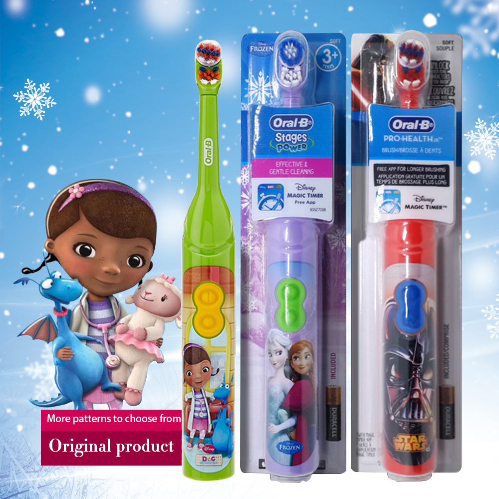 Oral B Children Electric Toothbrush Oral Care Soft Bristle Head Kids Stage Power Battery Rotating Tooth brush For Child 3+