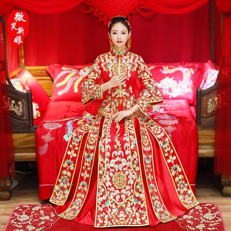 New Bride Embroidery Phoenix Red Women Chinese Traditional Dress Wedding Cheongsam Fashion Qipao Modern Oriental Style Dresses cele goldsmith lalli modern bride® wedding celebrations