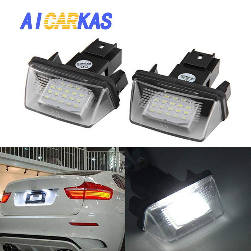 AICARKAS <font><b>LED</b></font> License Plate <font><b>Lights</b></font> for <font><b>Peugeot</b></font> 206 207 307 <font><b>308</b></font> 406 407 5008 for Citroen C3 C4 C5 C6 BERLINGO SAXO XSARA 2 PCS 4W image