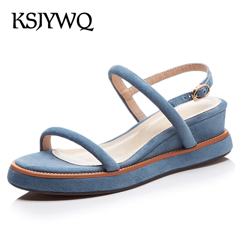 KSJYWQ Summer Style Women Platform Sandals 3 CM Thick Soles Blue Shoes 5 CM Heel Wedges Open-toe Woman Shoes Box Packing M66003 woman sandals 2018 summer women concise bling open toe casual shoes woman fashion thick bottom wedges sandals