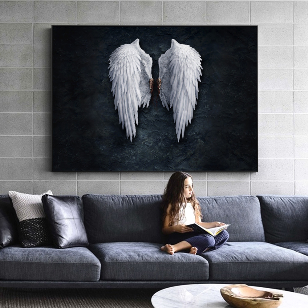 Us 3 64 45 Off Anime Angel Wings Wall Art Canvas Prints Feather Ground Creative Paintings On The Picture For Living Room Decor In