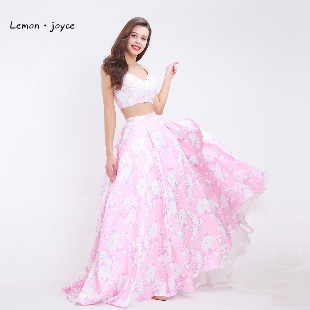 Pink Floral Print Prom Dress 2019 Two Piece with A line Lace Summer Dress Simple Long
