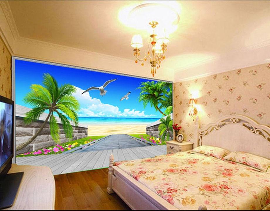 Fashion House living room TV background wallpaper 3D blue ...