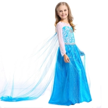 Halloween costume princess dress anna elsa girls skirt long sleeve cotton lining