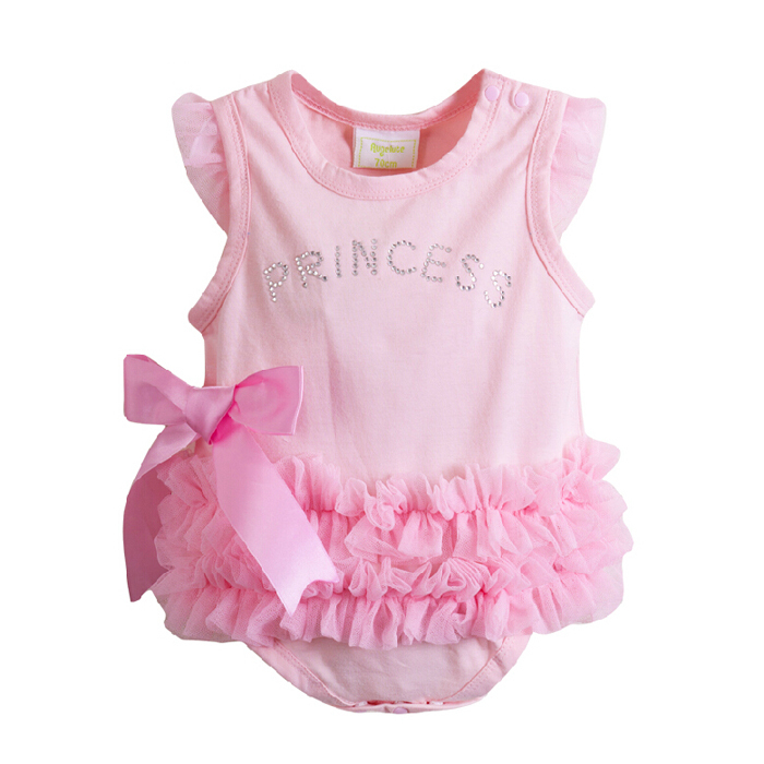Pink Princess Baby Girl Sleeveless Bodysuit Onesie Jumpsuit