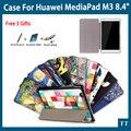 Alta calidad de la pu del soporte del cuero case para huawei mediapad m3 btv-w09 btv-dl09 8.4 pulgadas tablet case cover + free 3 regalos