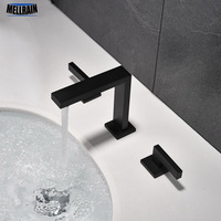 100% Твердая латунь двойная ручка смеситель для раковины широкий ванная комната кран матовый черный или хромированный выбор воды смесителя