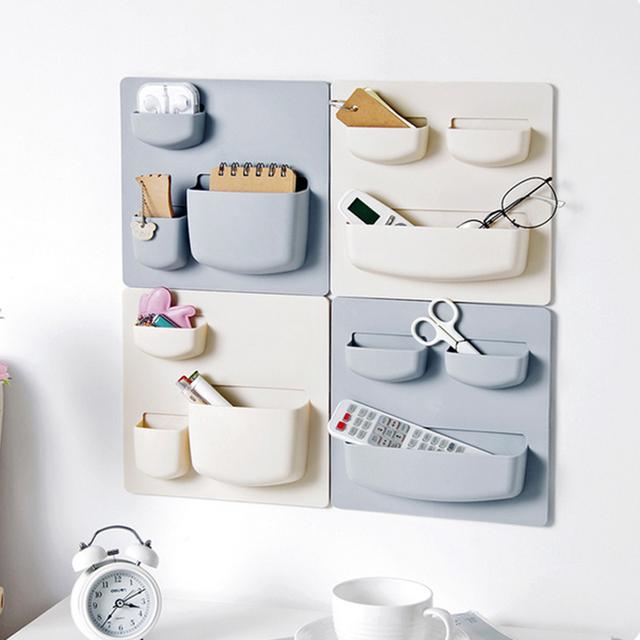 Cosmetic Toiletries Sundries Wall Suction Plastic Storage Holder Shelf