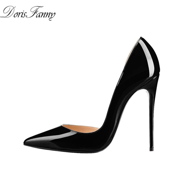 0292a0bed505 DorisFanny Patent Leather Black heels 12cm Stiletto Pointed Toe Women Sexy High  Heels Pump Shoes