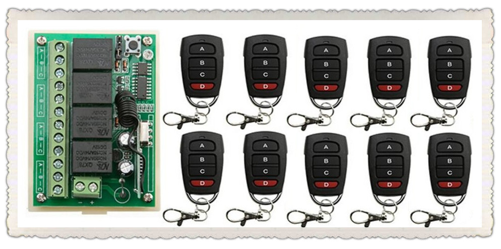 DC12V 4CH RF Wireless Remote Control System teleswitch 10*transmitter +1* receiver universal gate remote control /radio receiver dc12v 2ch rf wireless remote control witch 10 cat eye transmitters and 1 receiver universal gate remote control radio receiver
