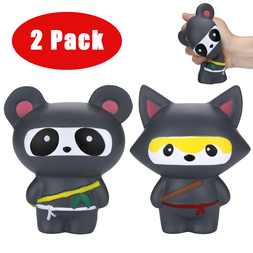HIINST 2Pcs Jumbo Squishies Ninja Panda&Ninja Fox Scented Slow Rising Squeeze Stress Rel ...