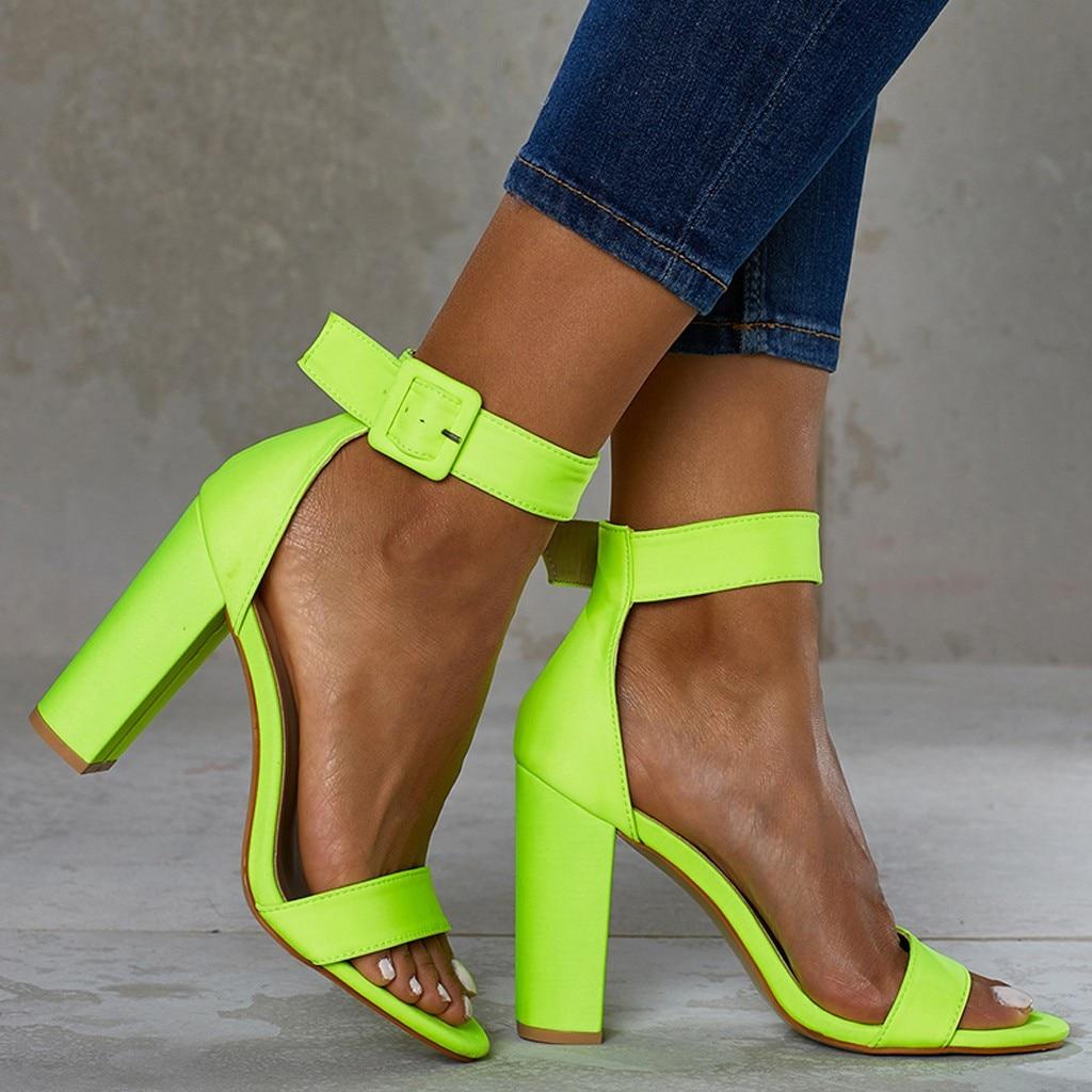 92bc053a47 GENSHUO Brand Shoes 10 12CM Heels Women Shoes Pumps Stiletto Neon ...