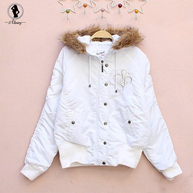 2017 Nuevo de las mujeres abrigo de invierno de algodón blanco cuello de piel de