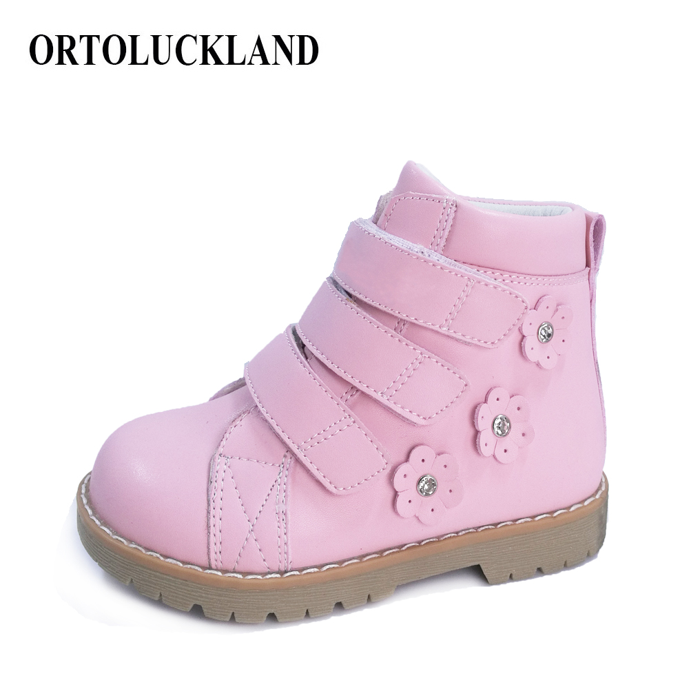 Lovely Girls Pink Leather Casual Shoes Rhinestone Flower Orthopedic Shoes Spring Autumn Children Martin Boots Kids Shoes
