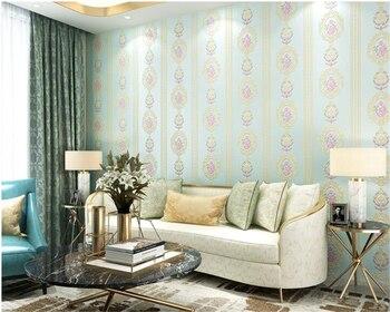 beibehang 3D romantic European and American Pastoral vertical striped living room full of papel de parede 3d wallpaper behang