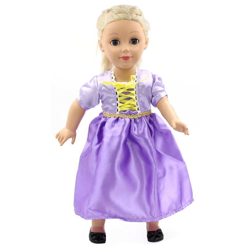 Stock 15 styles Princess Dress Doll Clothes fit 43cm Baby Born Doll Fashion Purple Bandage Dress and Accessories for kids MG112