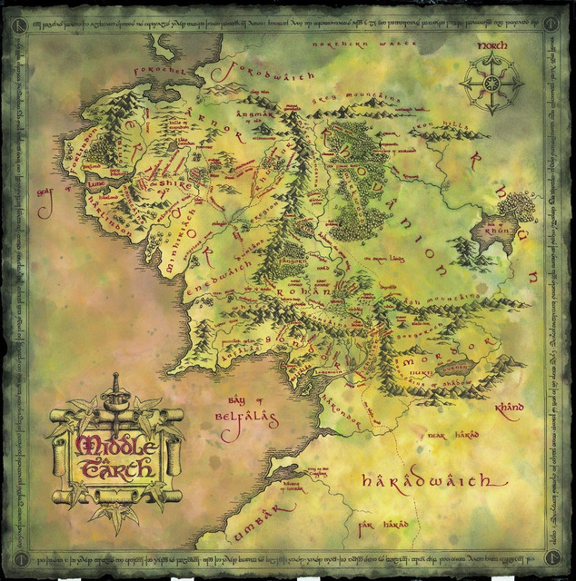 1091 16x16 Vintage Map Print Of Middle Earth Lord Of The Rings
