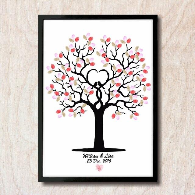 Freies Personalized Name Und Datum Hochzeit Baum Fingerabdruck DIY Gastebuch Engagement Feier Party Ungerahmt HK063