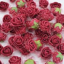 50/100 pcs 2cm Mini PE Foam Flower Fake Artificial Rose For DIY Handmade Wedding Party Decor Scrapbooking Crafts Gift Box  8Z