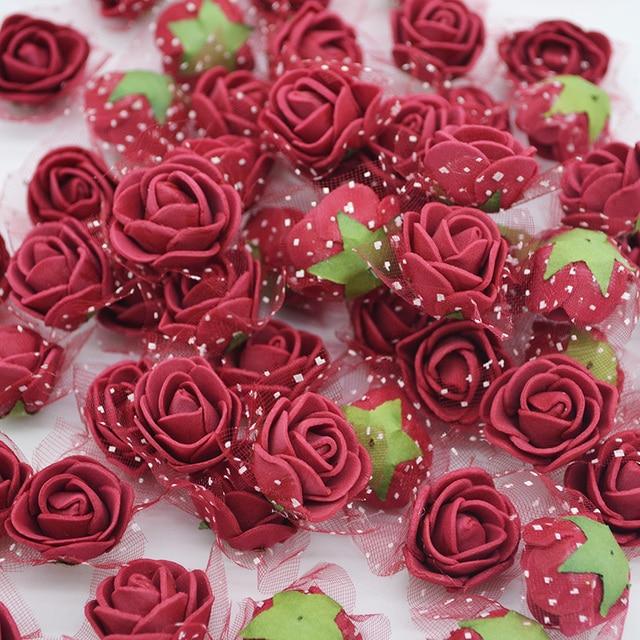 50/100 piezas 2 cm Mini PE espuma flor falsa Rosa Artificial para DIY hecho a mano boda fiesta decoración Scrapbooking manualidades regalo caja de 8Z