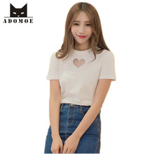 S-XXL Summer Women Sweet Cute Love Shap Heart Hollow out Chest Sexy T-shirt Solid White Black Cotton Short sleeve Slim Shirt