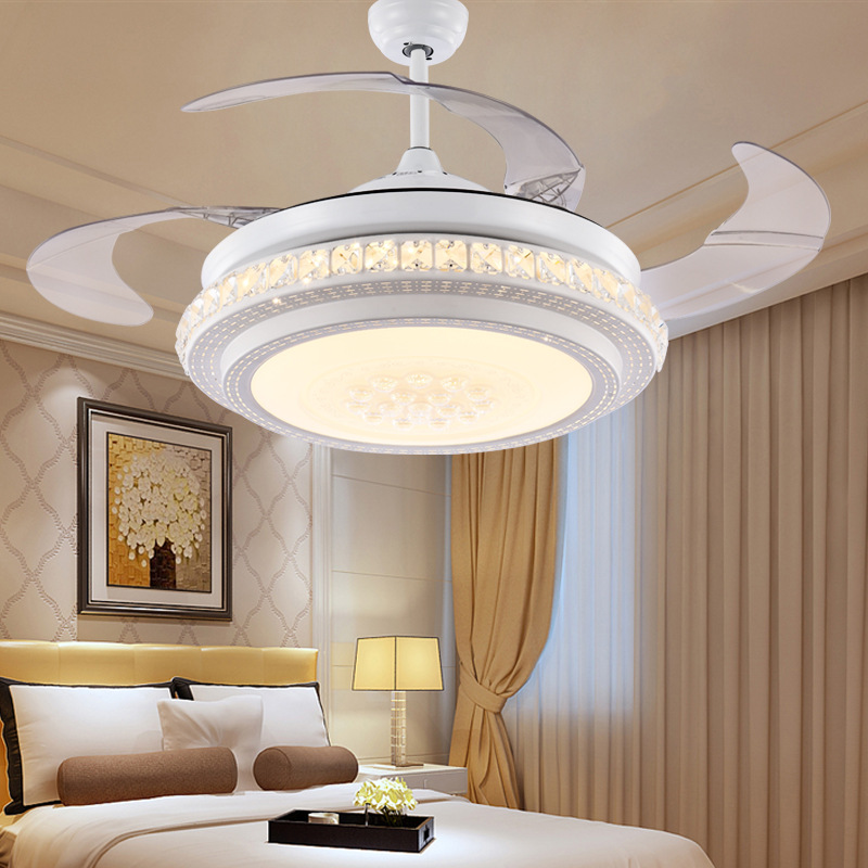 Hidden ceiling fan light dining room LED bedroom living room fan lamp simple modern household electric fan pendant lamp simple crystal hidden ceiling fan lamp restaurant fan room living room bluetooth music live fan lamp home romance