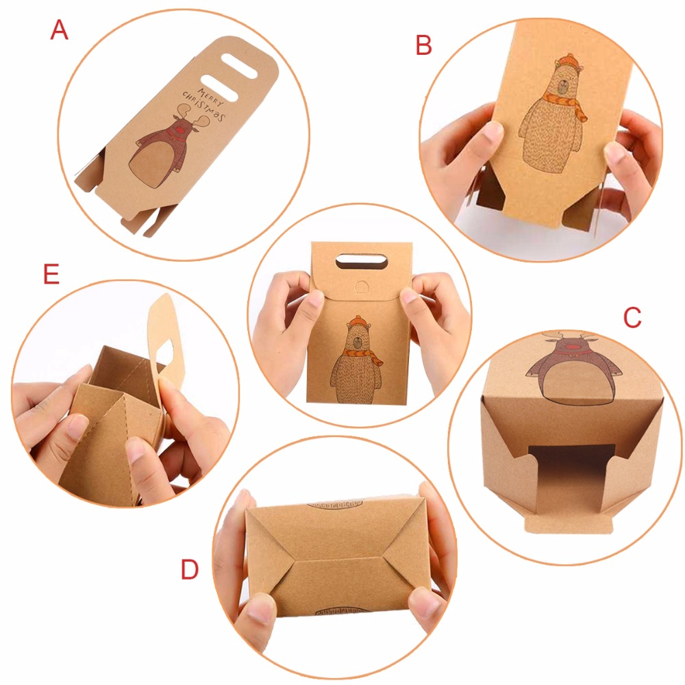 FENGRISE Retro Santa Claus Kraft Paper Bag Merry Christmas Gifts Bag Box Christmas Decoration for Home New Year 2019 Navidad in Stockings Gift Holders from Home Garden