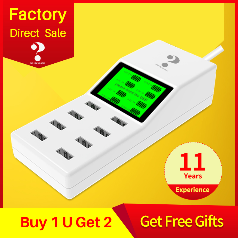 universal 8 ports smart USB charger Led display 8A multiple wall adapter HUB adapter socket for mobile phone tablet PC camera