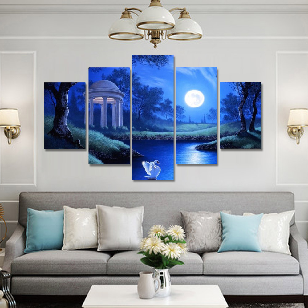 Unframed HD Canvas Prints Oil Painting Night View Full Moon Swan Lake Prints Wall Pictures For Living Room Wall Art Decoration