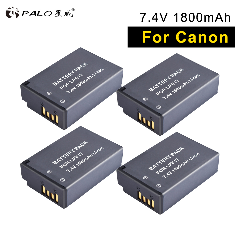 PALO 4pcs camera digital batteries LP E17 battery E17 For Canon EOS 750D 200D 760D EOS T6i T6S M3 M5 X8i 8000D KISS X8i cameras