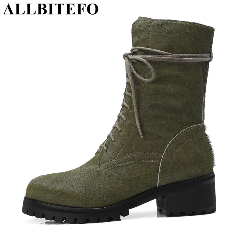 все цены на ALLBITEFO fashion brand genuine leather thick heel women boots high heels ankle boots girls autumn winter motorcycle boots shoes онлайн