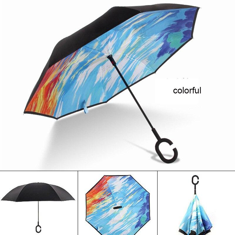 C ручкой ветрозащитный обратный складной зонтик для мужчин и женщин Защита от солнца дождь автомобиль перевернутый Зонты Двойной слой анти УФ Самостоятельная стойка Parapluie - Цвет: colorful