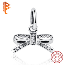 BELAWANG 925 Sterling Silver Bow Knot Pendants Charm fit Original BW Bracelet & Necklace for Women Authentic DIY Jewelry