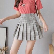 2019 Summer Student Pleated Skirt Women Skirt Fashion High Waist Chic Plaid Print Skirts Cute Sweet Girls A-Line Skirt Women chic women s ethnic print high waist skirt
