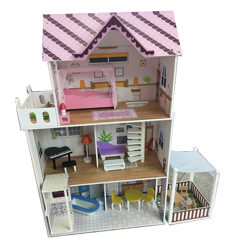 120CM Doll House Large DIY Model Kit Wooden Doll House With Furniture  Working Elevator Dollhouse Toys for Children Birthday Gift