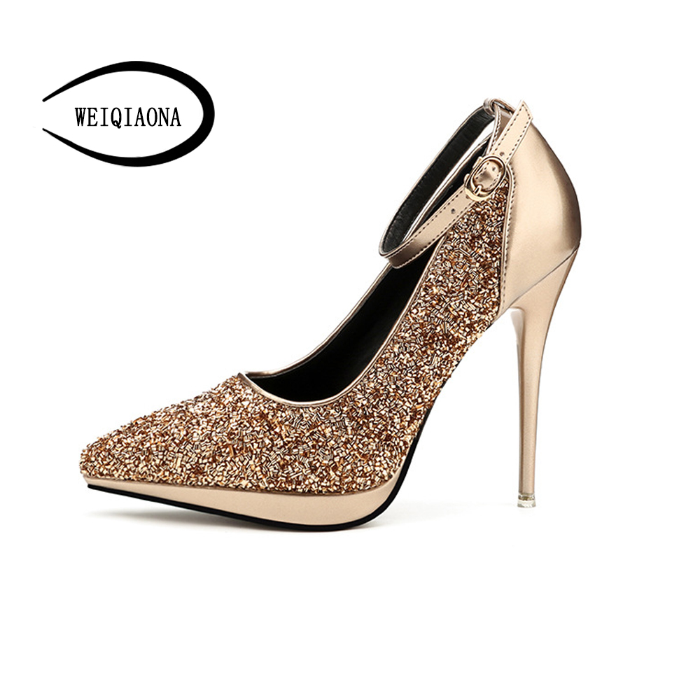 WEIQIAONA New Women pumps sexy fashion pointed thin- heels Ankle strap high heels Ladies wedding shoes Bridesmaid shoes weiqiaona european 2018 women new fashion show leather snake skin rhinestone flowers high heel sandalss sexy ladies party shoes