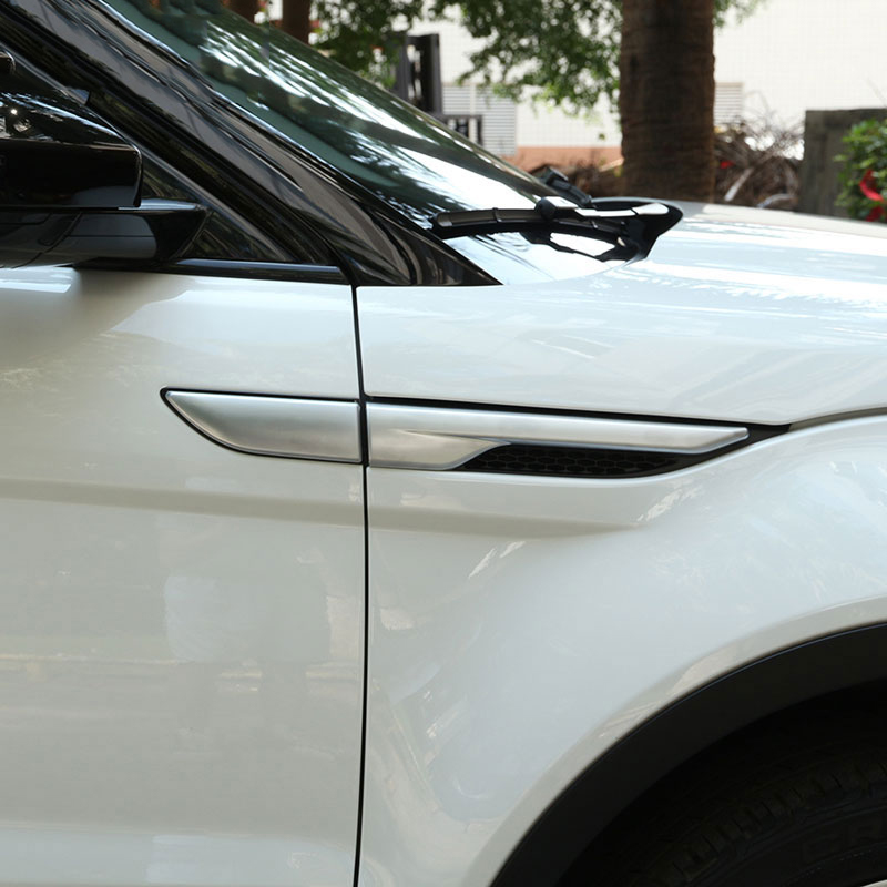 Silver/Black Side Fender Sticker For Land Rover Range Rover Evoque 2011-2016 ABS Chrome Car Accessories dee car accessories for land range rover evoque modified sport styling car side wind blade shape fender abs decorative