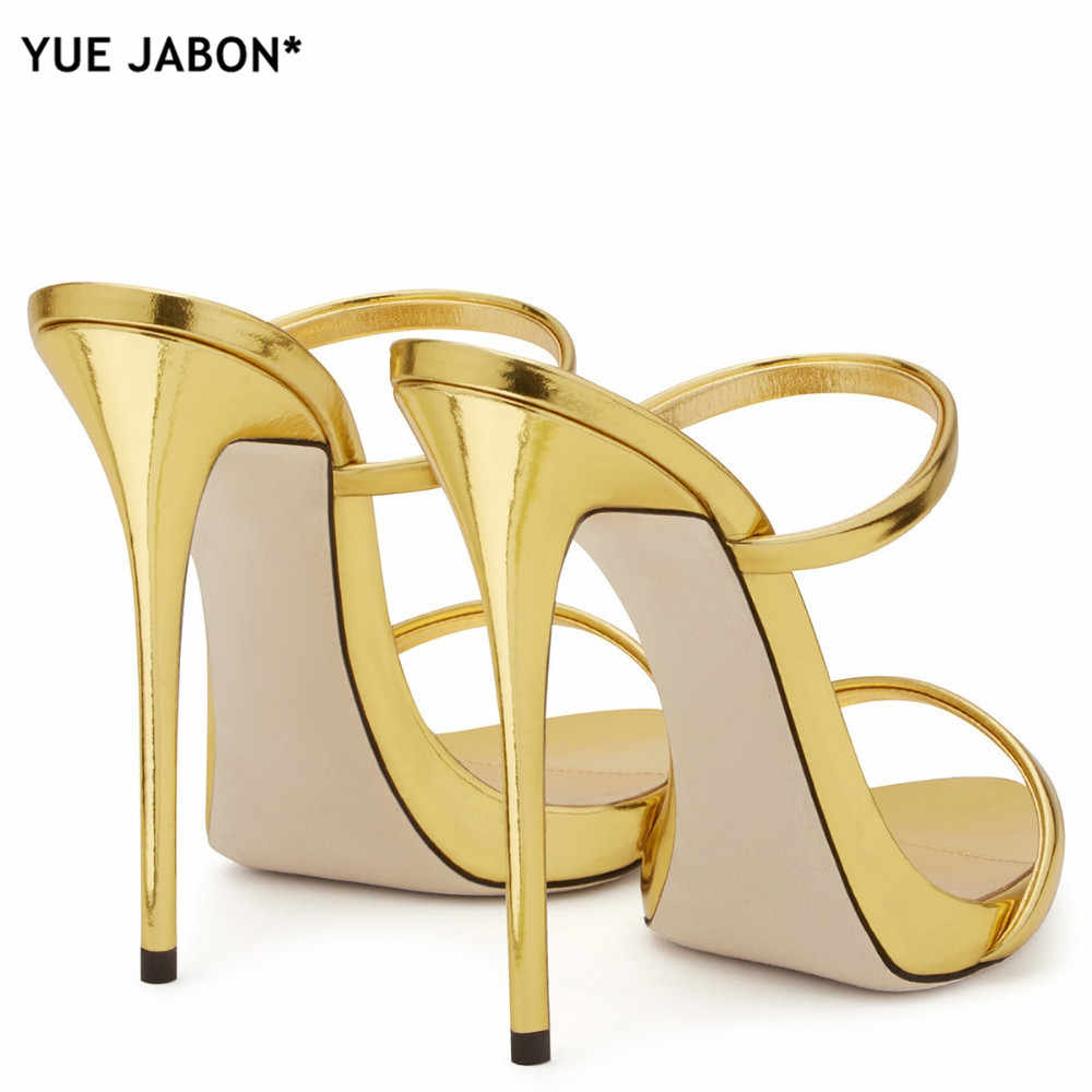 ... 2018 Women Two Straps High Heels Rose Gold Patent Leather Strappy Sandals  Ladies Cute Slippers Sexy 96a83e956fe4
